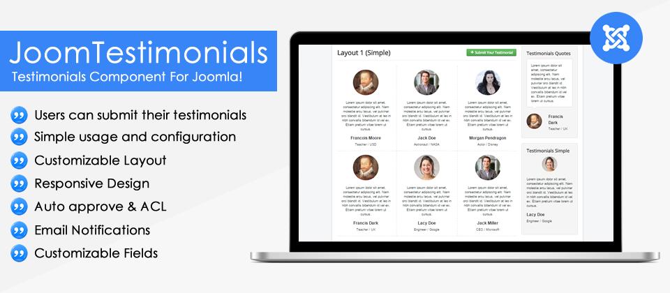 Introducing JoomTestimonials - Testimonials Component