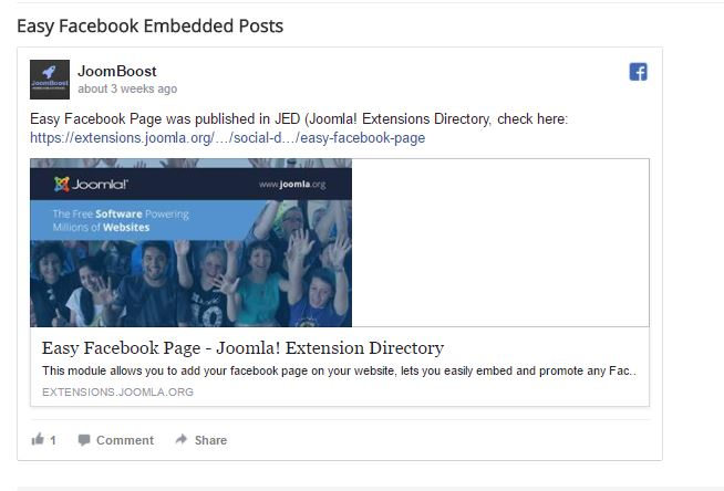 Easy Facebook Embedded Posts - JoomBoost