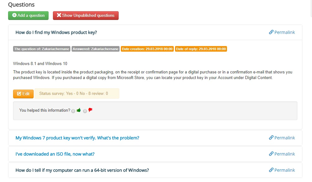 Frontend management of questions