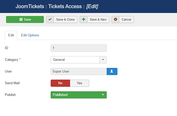 Addd new ticket access from backend