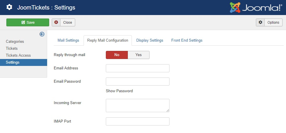 Reply mail settings in backend